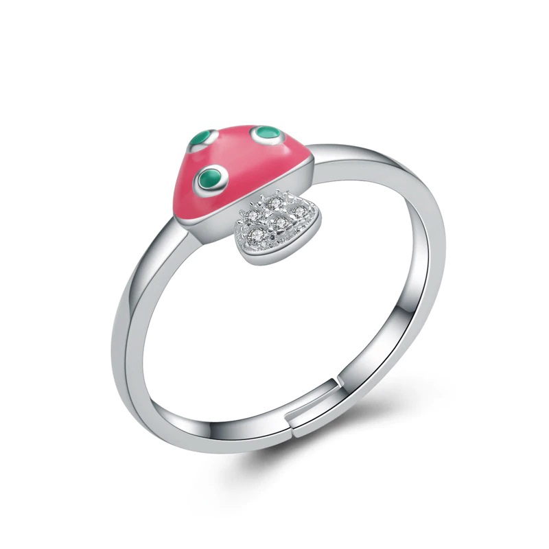 Mushroom Ring 925 Sterling Silver CZ Enamel Resizable