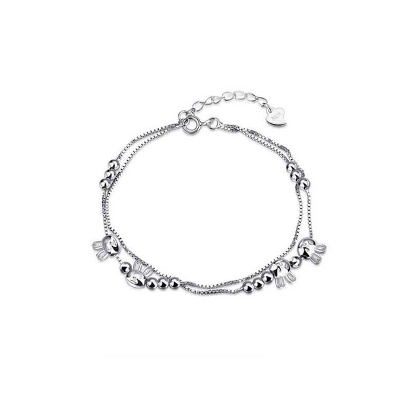 Rabbits Bracelet Charm 925 Sterling Silver Jewelry