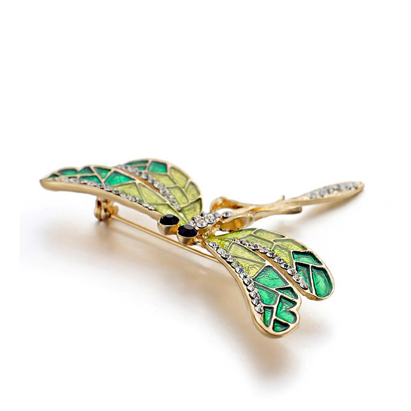 Green Wings Dragonfly Brooch Rhinestones Enamel