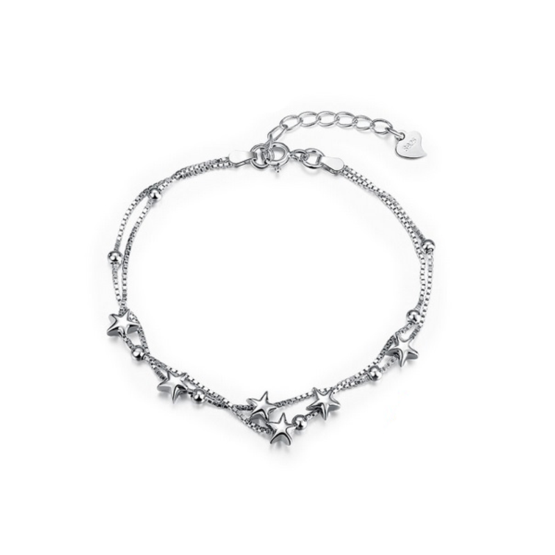 Stars Bracelet Charm 925 Sterling Silver Chain