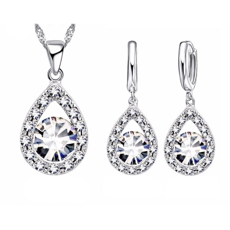 Water Drop Set Round Cut CZ 925 Sterling Silver