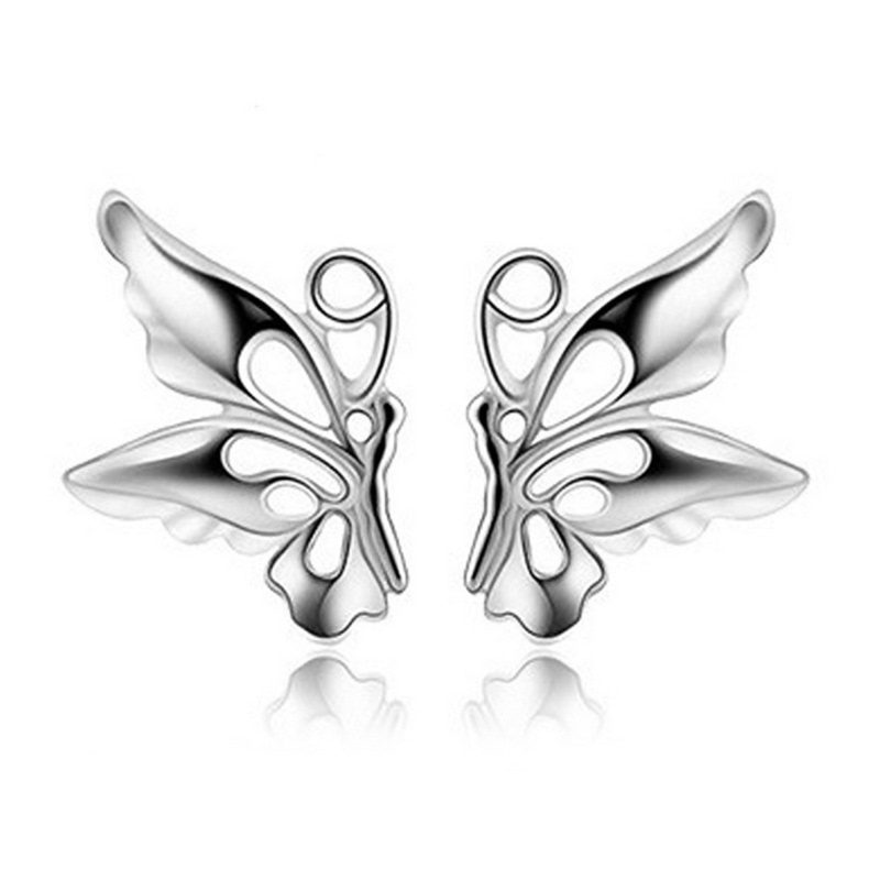 Butterfly Earrings Stud 925 Sterling Silver Plated