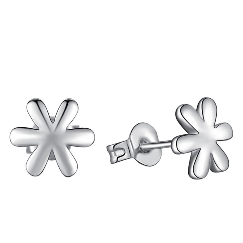 6 Petal Flower Earrings Stud 925 Sterling Silver Plated