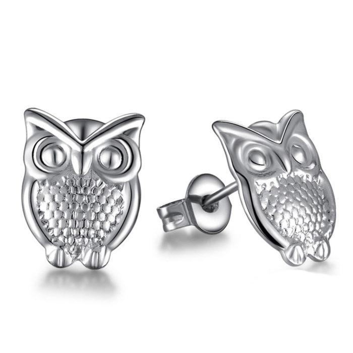 Silver Owl Stud Earrings