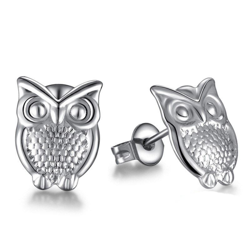 Silver Owl Stud Earrings