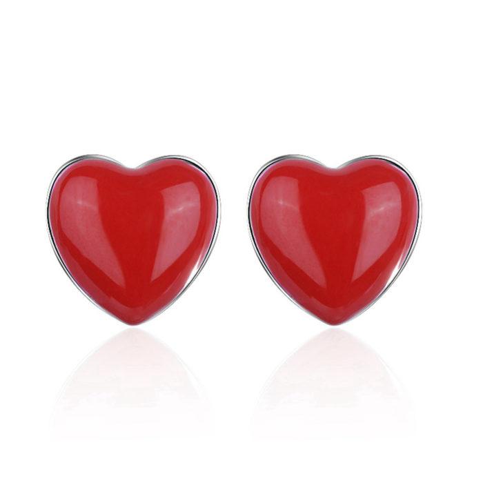 red heart stud earrings for her
