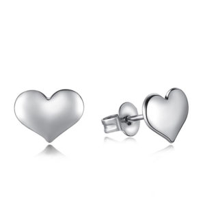 silver heart shaped stud earrings