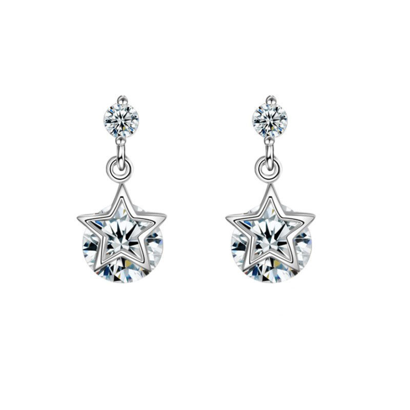 Star Earrings 925 Sterling Silver Cubic Zirconia