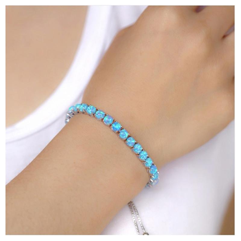 925 Sterling Silver Plated Blue Fire Opal Tennis Bracelet