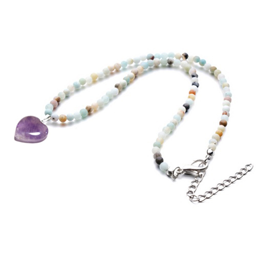 Amazonite Beaded Amethyst Heart Pendant Necklace
