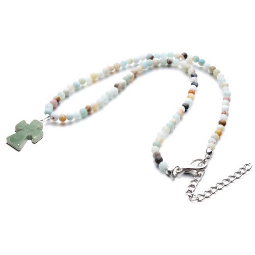 Amazonite Beaded Cross Pendant Necklace