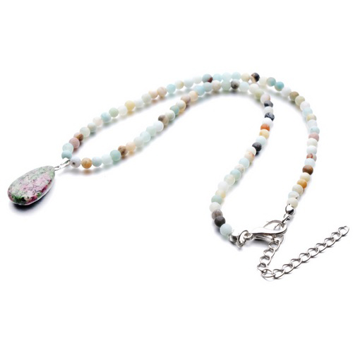 Lab Created Ruby Zoisite Anyolite Water Drop Pendant Necklace
