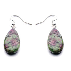 Ruby Zoisite Water Drop Earrings