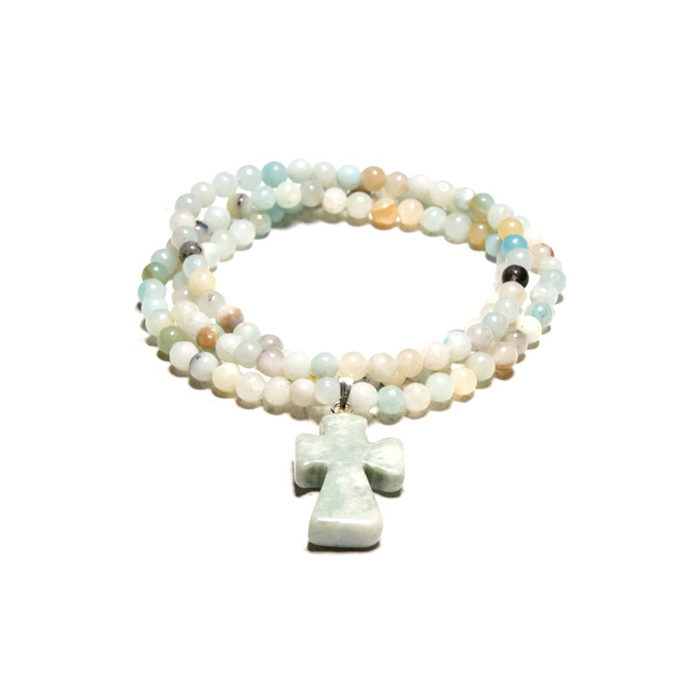Amazonite Beaded Cross Pendant Wrap Bracelet