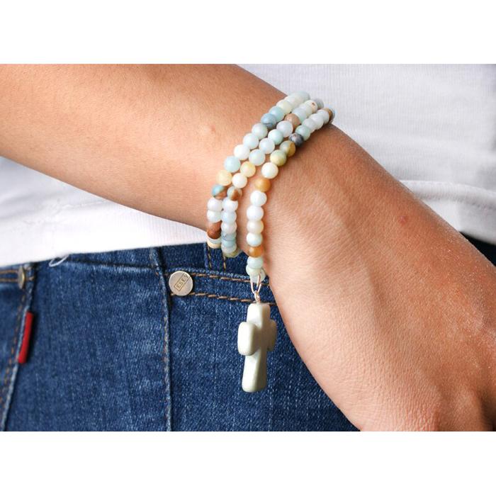 Cross Pendant Wrap Bracelet Ite Beaded
