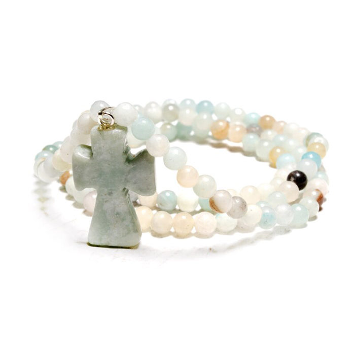 Cross Pendant Wrap Bracelet Amazonite Beaded