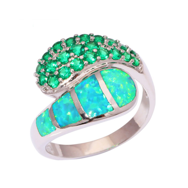 Green Ring Fire Opal Cubic Zirconia 925 Sterling Silver