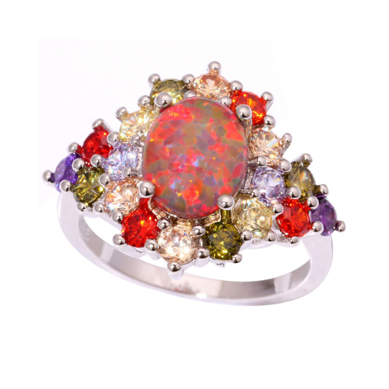 Multi-Stone Cocktail Ring Opal Cubic Zirconia S925