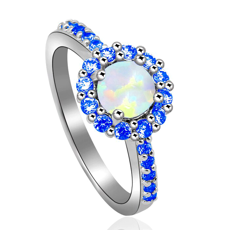 Opal Halo Ring Cubic Zirconia 925 Sterling Silver