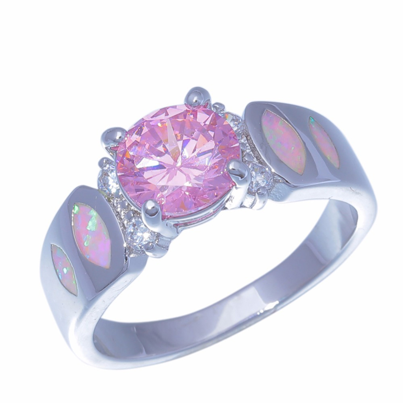Pink CZ Solitaire Ring Pink Fire Opal Wedding