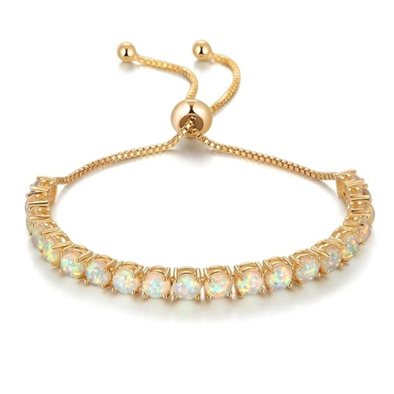 Tennis Bracelet Fire Opal Silver Gold Plated Brass