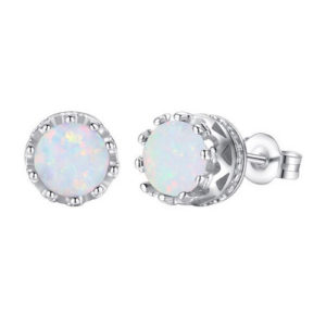 925 Sterling Silver Plated White Fire Opal Earrings