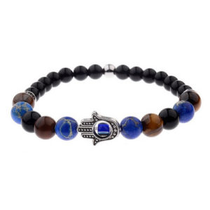 Hamsa Hand Multi-Color Stone Elastic Beaded Bracelet
