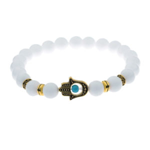 Hamsa Hand White Stone Beaded Stretch Bracelet