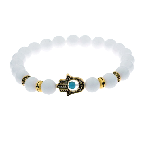 White Jade Beaded Turquoise Hamsa Hand Charm Stretch Bracelet
