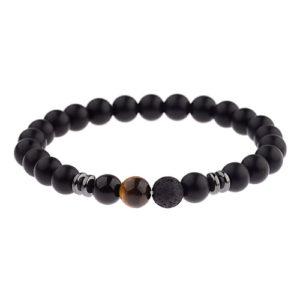 Multi-Stone-Elastic-Beaded-Mens-Bracelet
