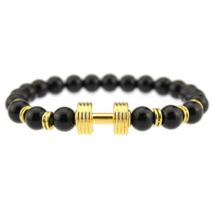 Lava Onyx Stone Beaded Gold Dumbbell Charm Bead Stretch Bracelet