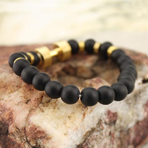 Natural Stone Beaded Dumbbell Charm Stretch Bracelet Matte Black Onyx Beaded Bracelet