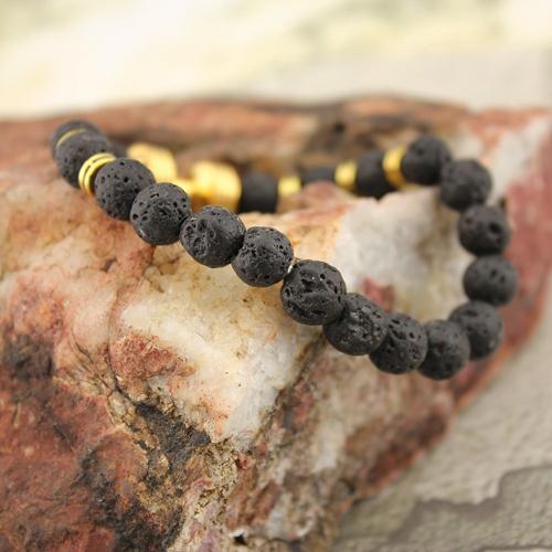 Natural Stone Beaded Dumbbell Charm Stretch Bracelet Matte Lava Beaded Bracelet