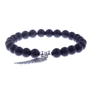 Silver Angel Wing Onyx Stone Beaded Bracelet