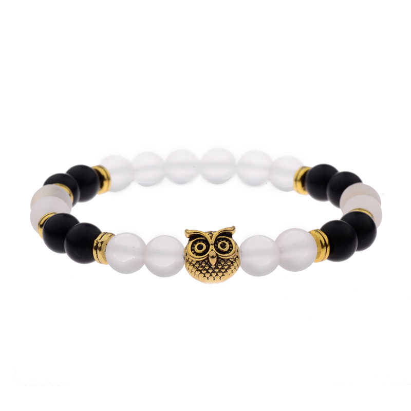 Owl Bracelet Onyx Jade Beaded Stretch Charm