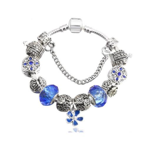 Blue Silver Charm Bracelet Enamel S925 PL CZ