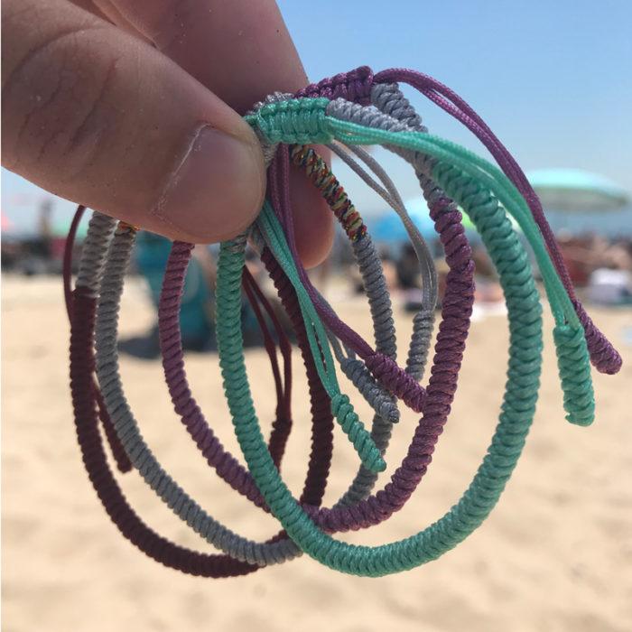 green grey pink burgundy lucky knot bracelet