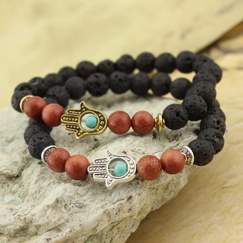 Lava Stone Beaded Hamsa Hand Turquoise Charm Bead Goldstone Stretch Bracelet