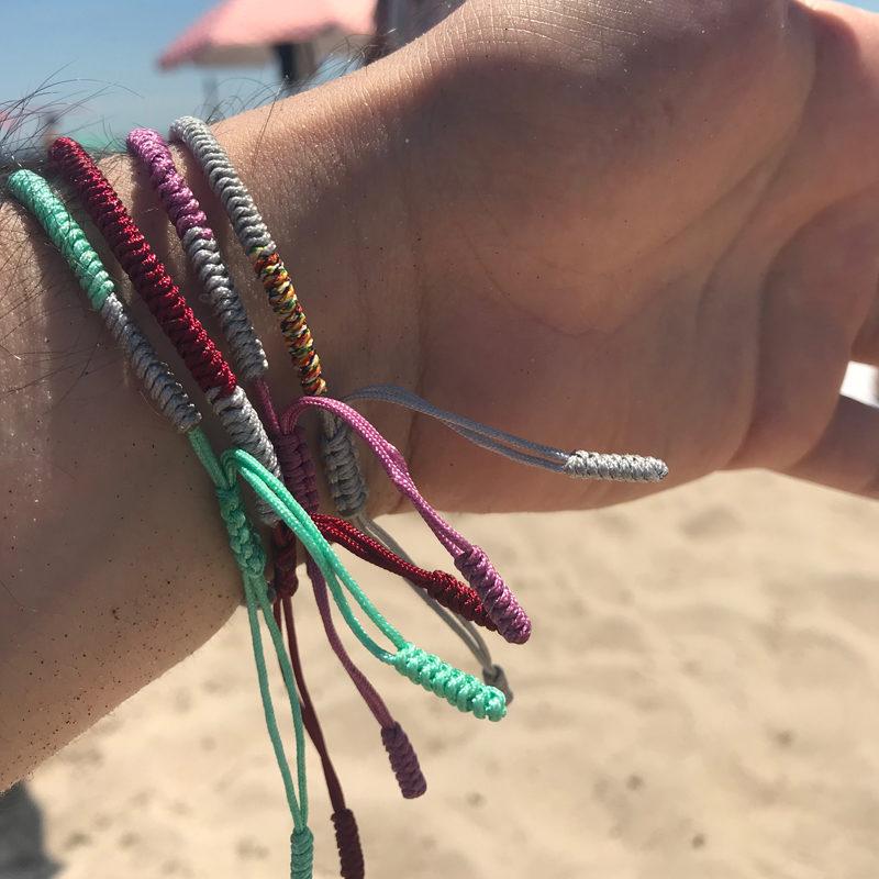 pink green grey burgundy lucky knot bracelet