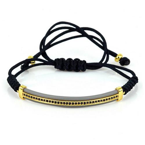 Bangle Rope Bracelet Black Cubic Zirconia Adjustable Knot
