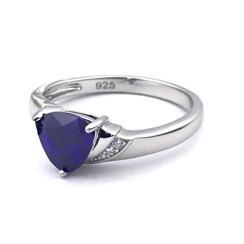 925 Sterling Silver Amethyst Cubic Zirconia Ring