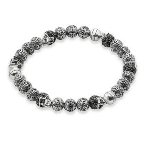 925 Sterling Silver Black CZ Rebel Skull Bracelet