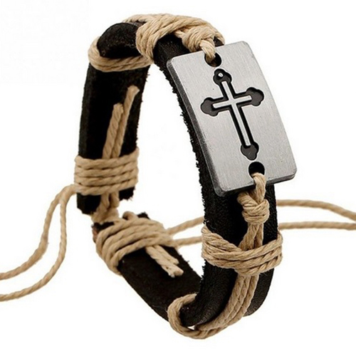 Leather Stainless Steel Cross Bracelet