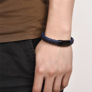 Mens Stainless Steel Magnetic Clasp Braid Leather Bracelet