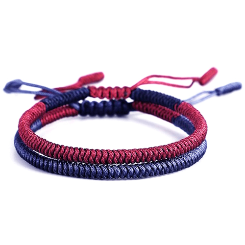 Dark Red Navy Blue Lucky Knot Bracelet