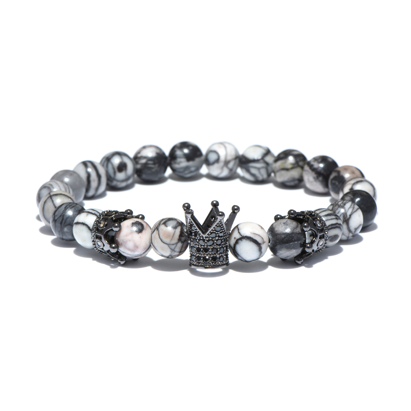 black-larvikite-beaded-crown-bracelet-cz-stretch-charm