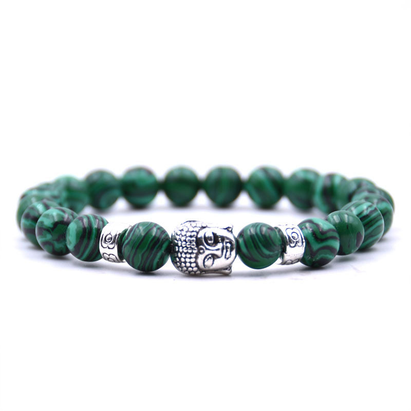 Malachite Bracelet Charm Stretch Beaded