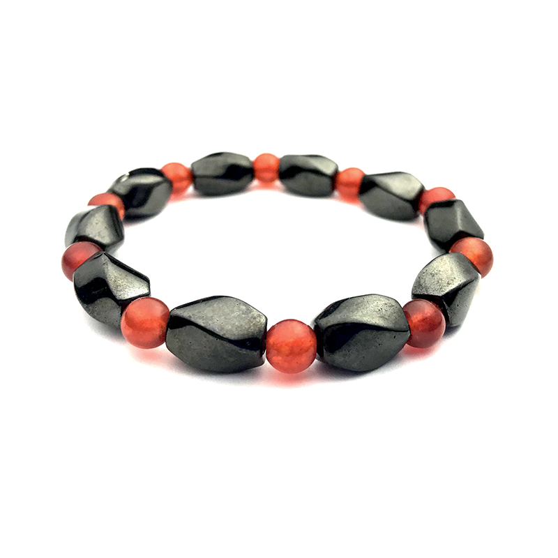 Garnet Hematite Magnetic Bracelet Beaded Stretch