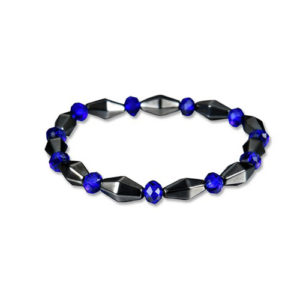 Hematite Blue Crystal Beaded Magnetic Stretch Bracelet