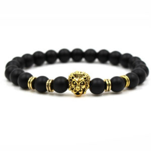 Matte Black Onyx Beaded Lion Head Charm Bracelet
